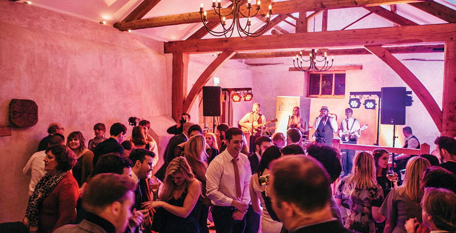Live Band on stage in the Cider Barn
