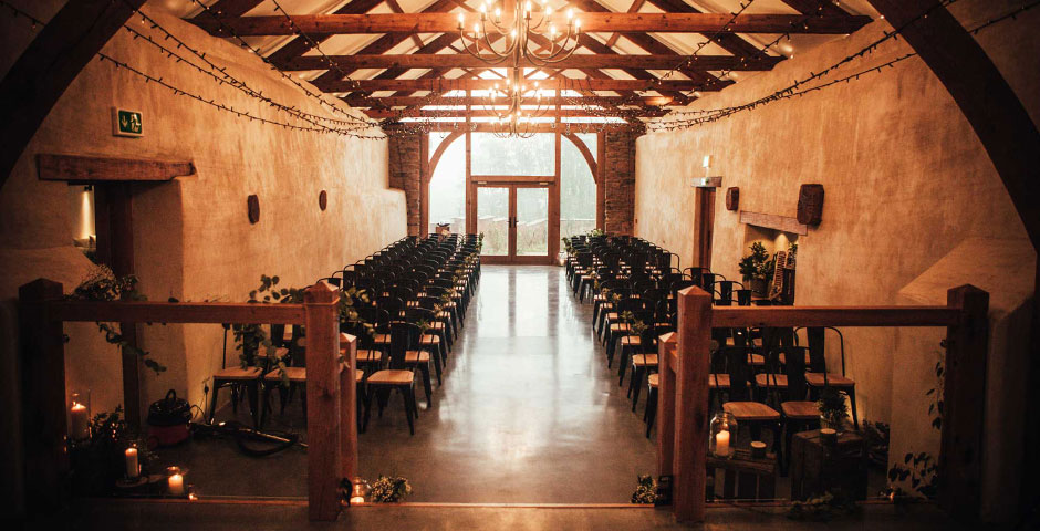 Cider Barn Wedding Ceremony set up