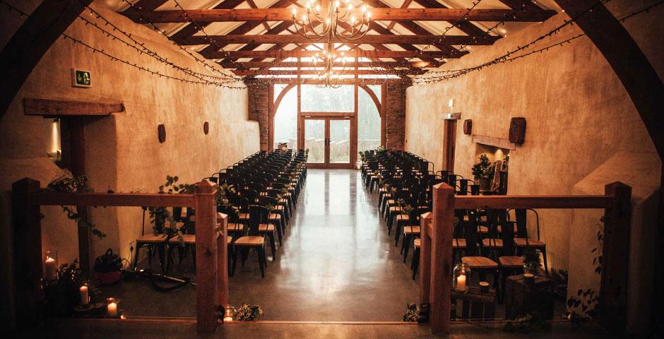 Cider Barn Wedding Ceremony set up