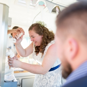 Bride tops the ice cream cone in van
