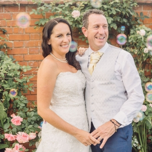Newly weds by walled garden
