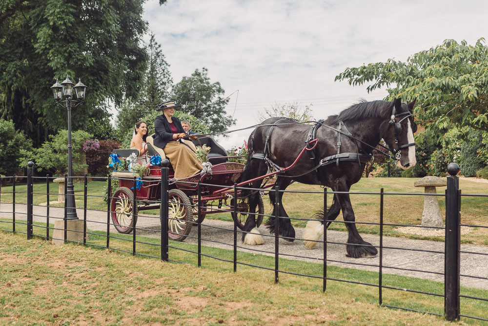 Couple arrive on horse and carridge