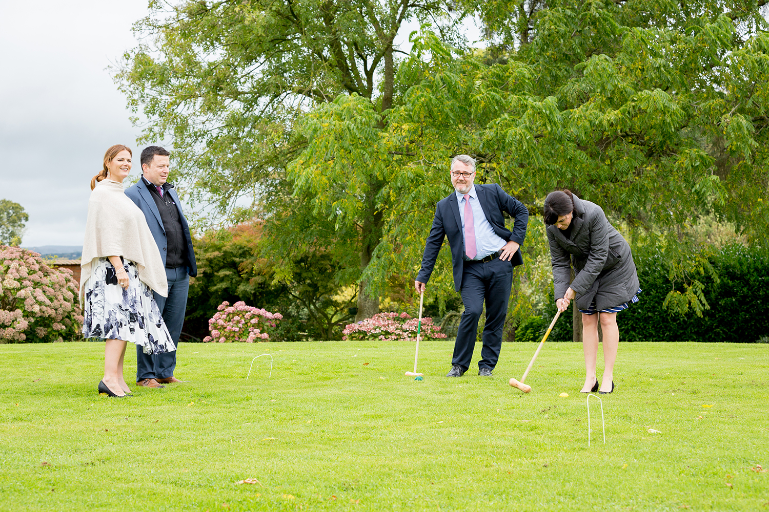 guests play croquet