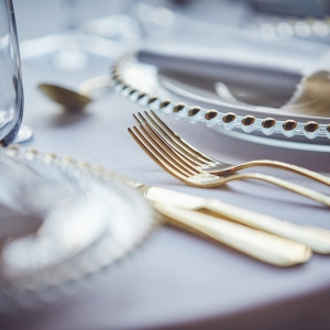 Close up of place setting charger plate