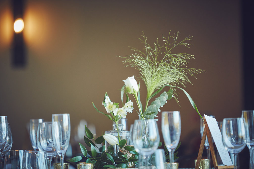 Close up of wedding breakfast table