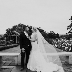 Bride and groom in in the walled garden