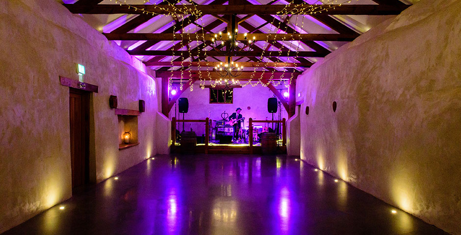 Cider Barn with band setting up