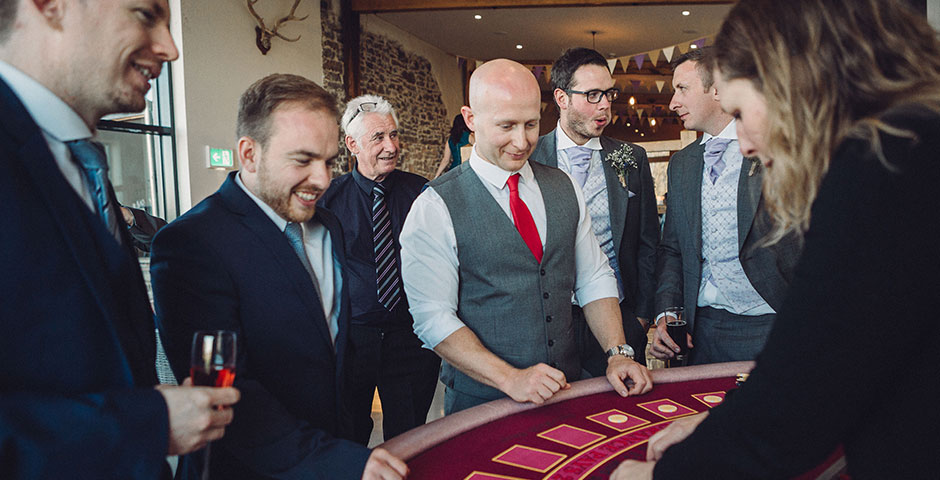 Blackjack Table surrounded by wedding guests