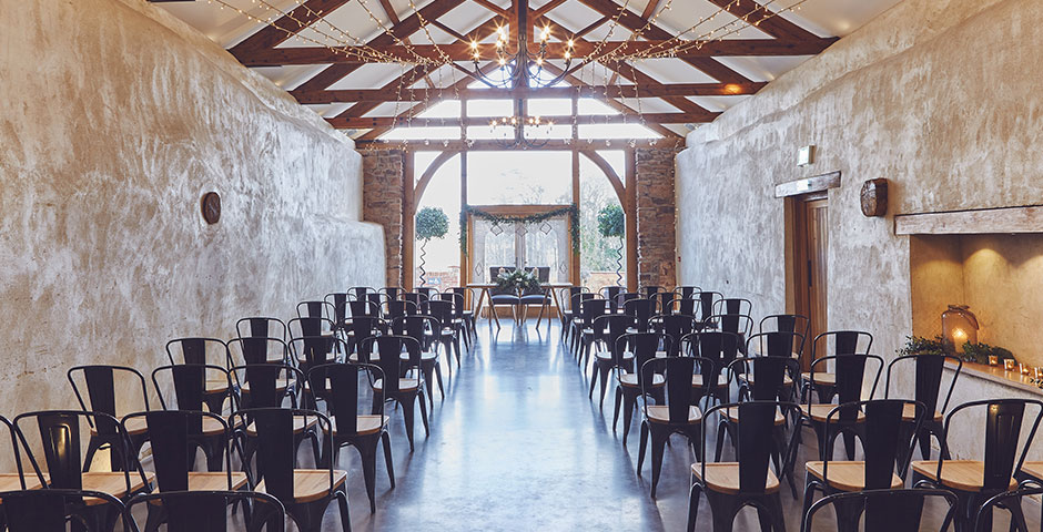 Cider Barn styled for wedding ceremony