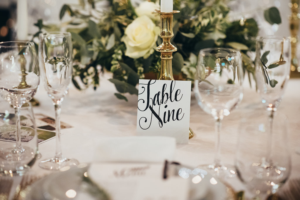 Table number close up