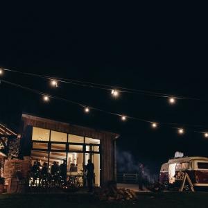 Upton Barn at night