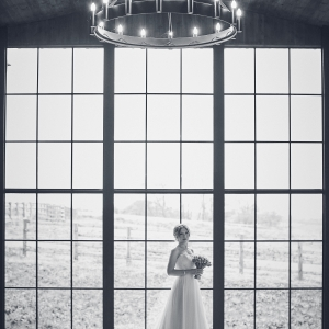 Bride in front of the large window