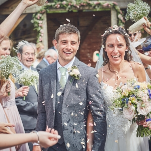 Confetti thrown at the Bride and Groom
