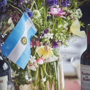 Table flower arrangement with flag