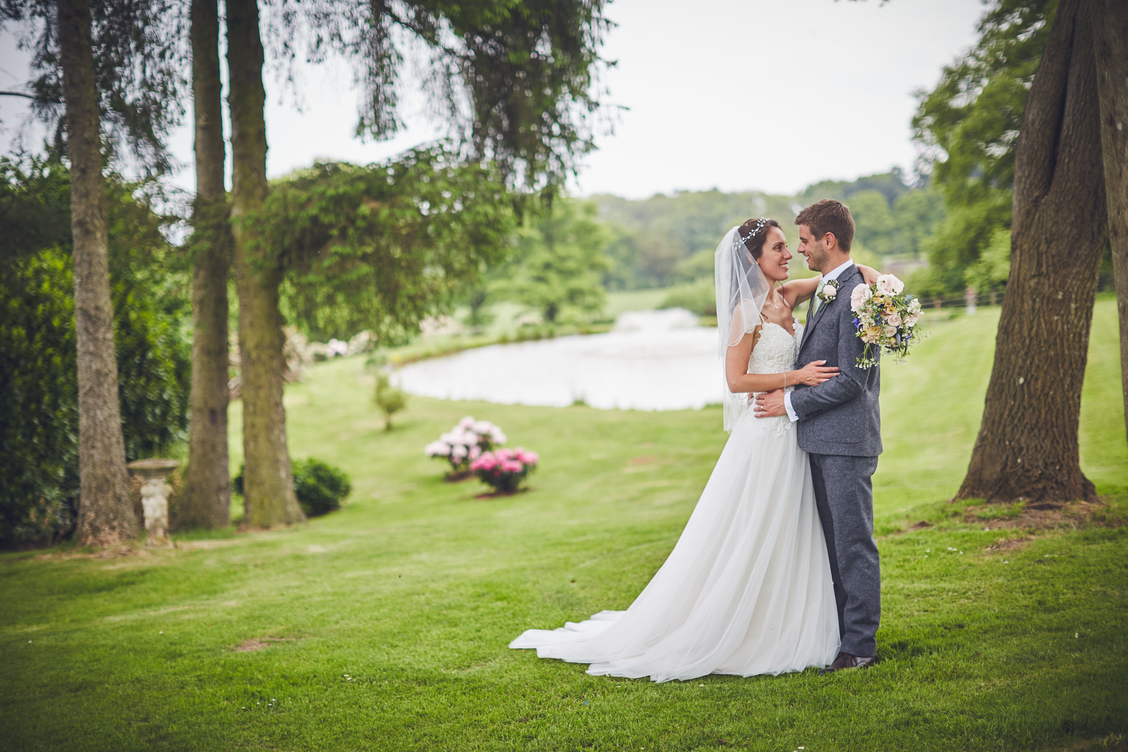 Bride and Groom by the lake