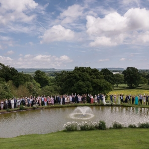 Wedding Party around the lake at Upton Barn