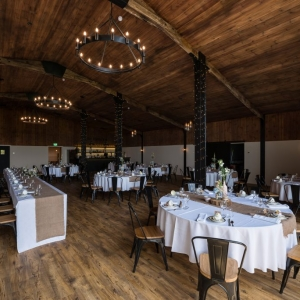 Wedding Breakfast set up in the Stable Barn at Upton Barn wedding venue