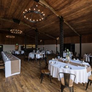 Wedding Breakfast set up in the Stable Barn at Upton Barn wedding venue