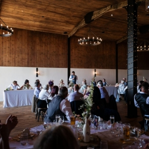 Wedding Breakfast in the Stable Barn at Upton Barn wedding venue