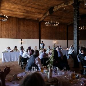Wedding Breakfast in the Stable Barn at Upton Barn wedding venue