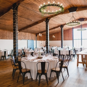 The Stable Barn at Upton Barn & Walled Garden laid for a wedding breakfast
