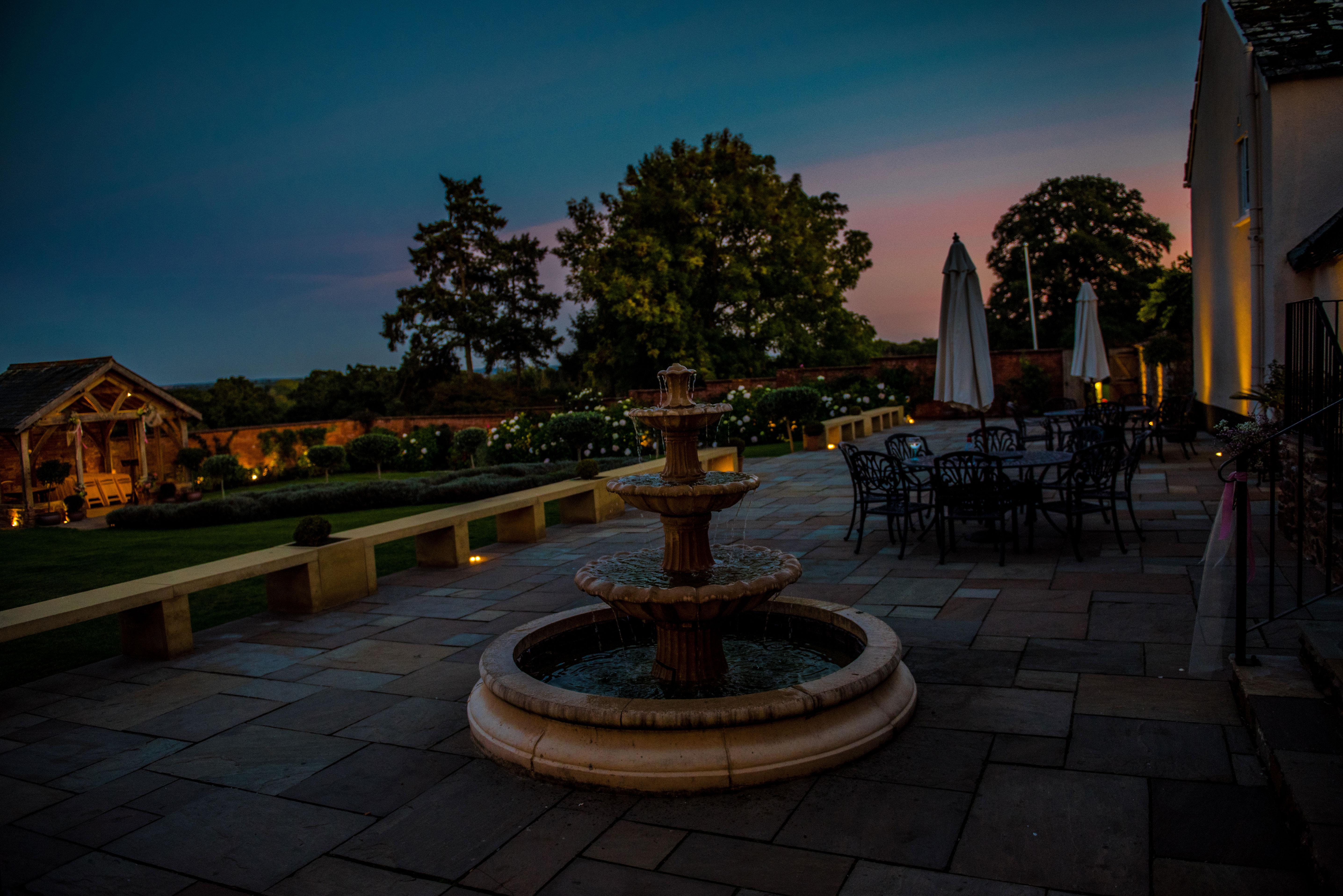 Upton Barns Walled Garden at dusk
