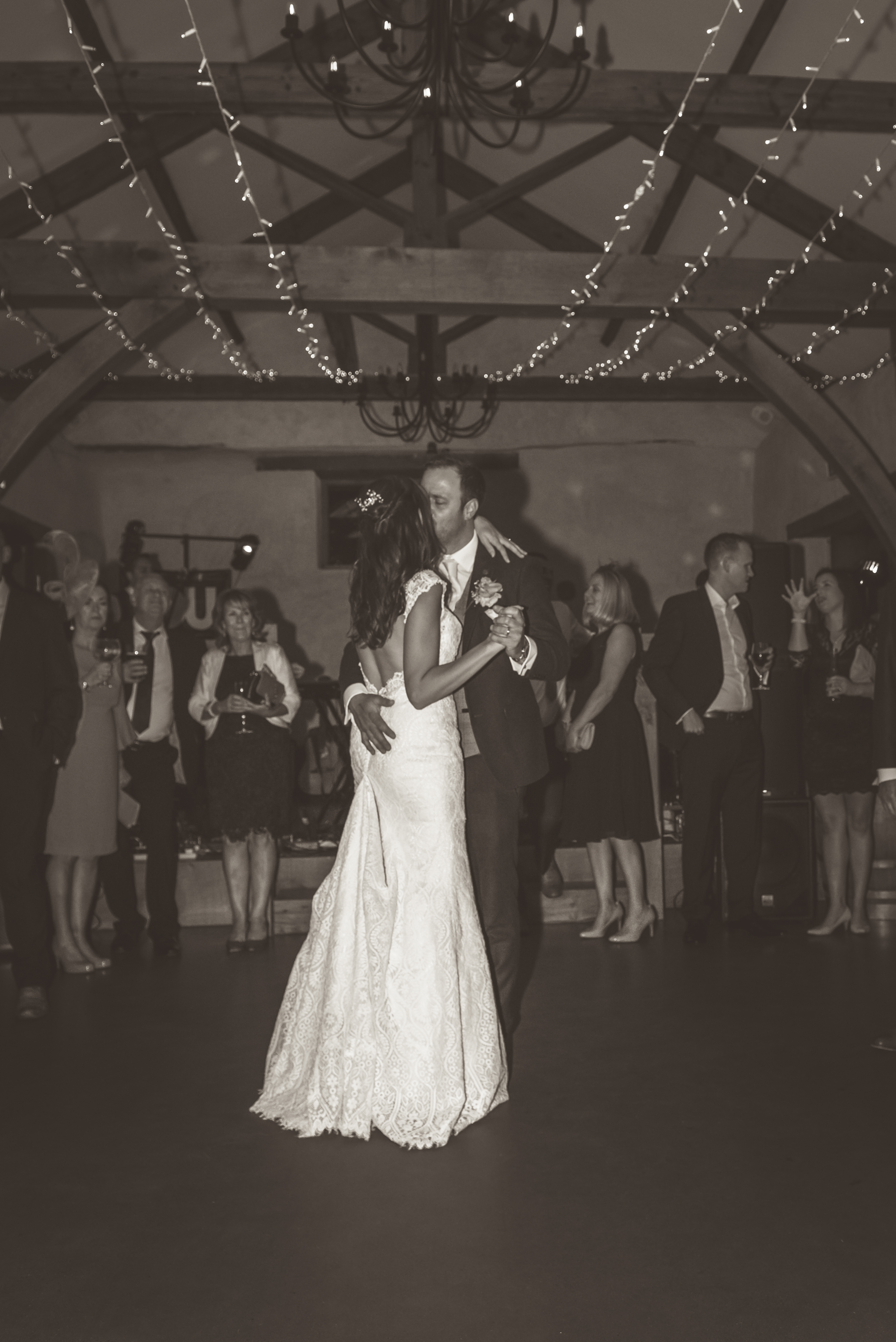 Bride and grooms first dance in the Cider Barn at Upton