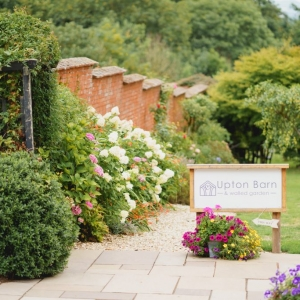 Sign and gate to the Walled Garden at Upton Barn