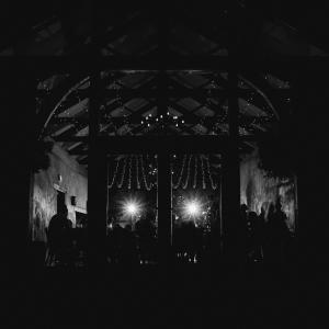 The Cider Barn lit up at night Upton Barn & Walled Garden