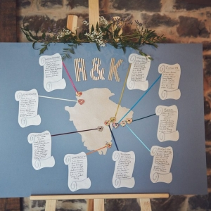 Devon based map wedding table plan at Upton Barn & Walled Garden