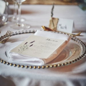 Close up of menu on place setting at Upton Barn & Walled Garden