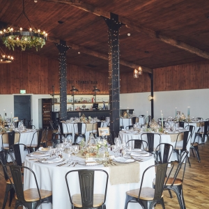 Wedding breakfast set up in the Stable Barn at Upton Barn & Walled Garden