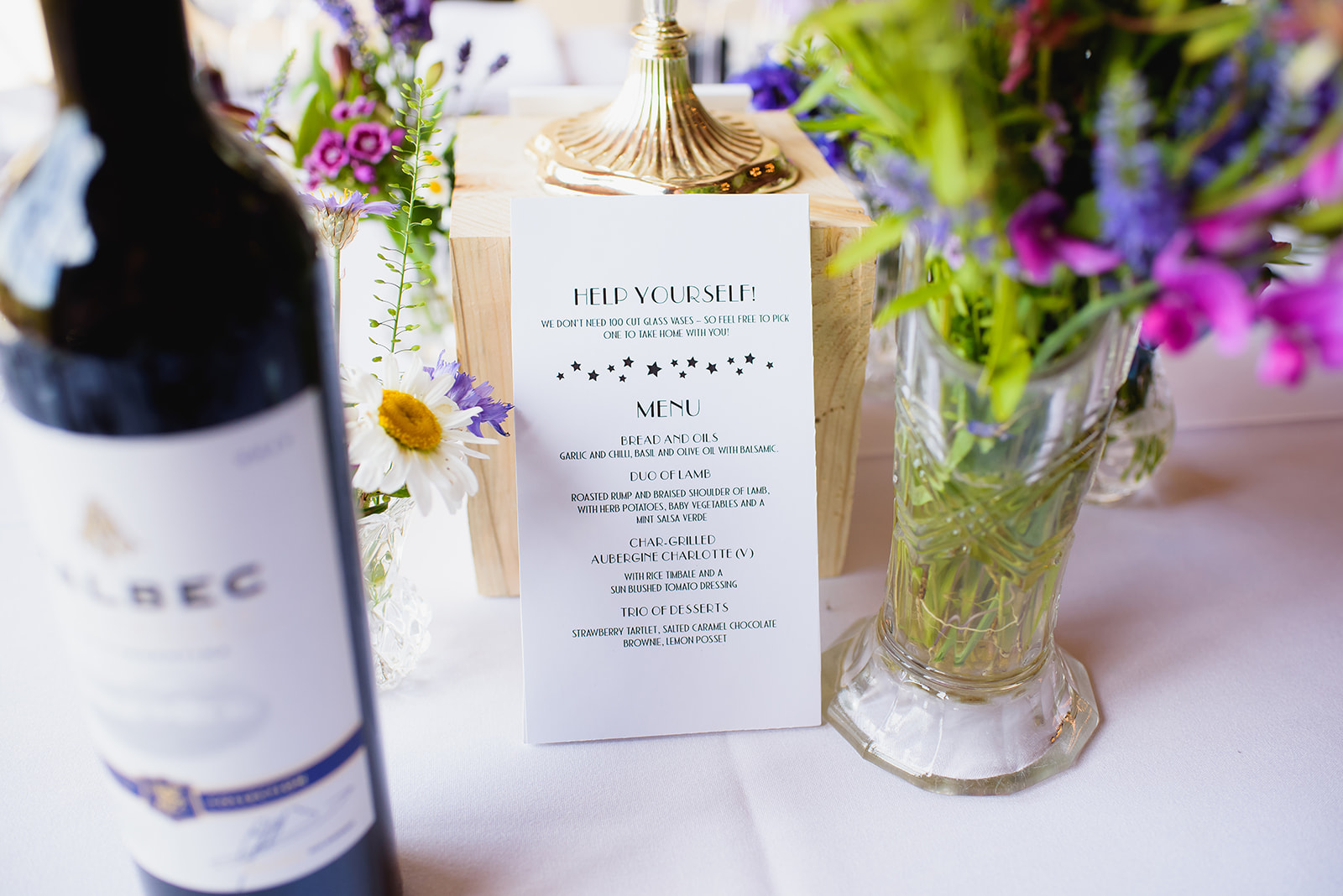 Close up of wedding menu and flowers