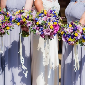 Close up of Brides and bridesmaids bouquets