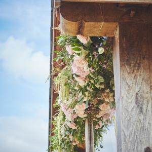 Floral garland adorns the arbour