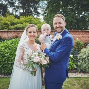 Bride and groom in the walled garden