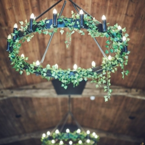 Ivy decorates the chanderliers in the Stable Barn at Upton Barn & Walled Garden