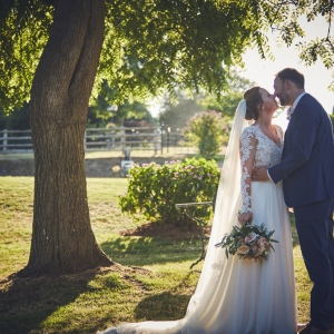 Bride and groom kiss under a tree in the grounds