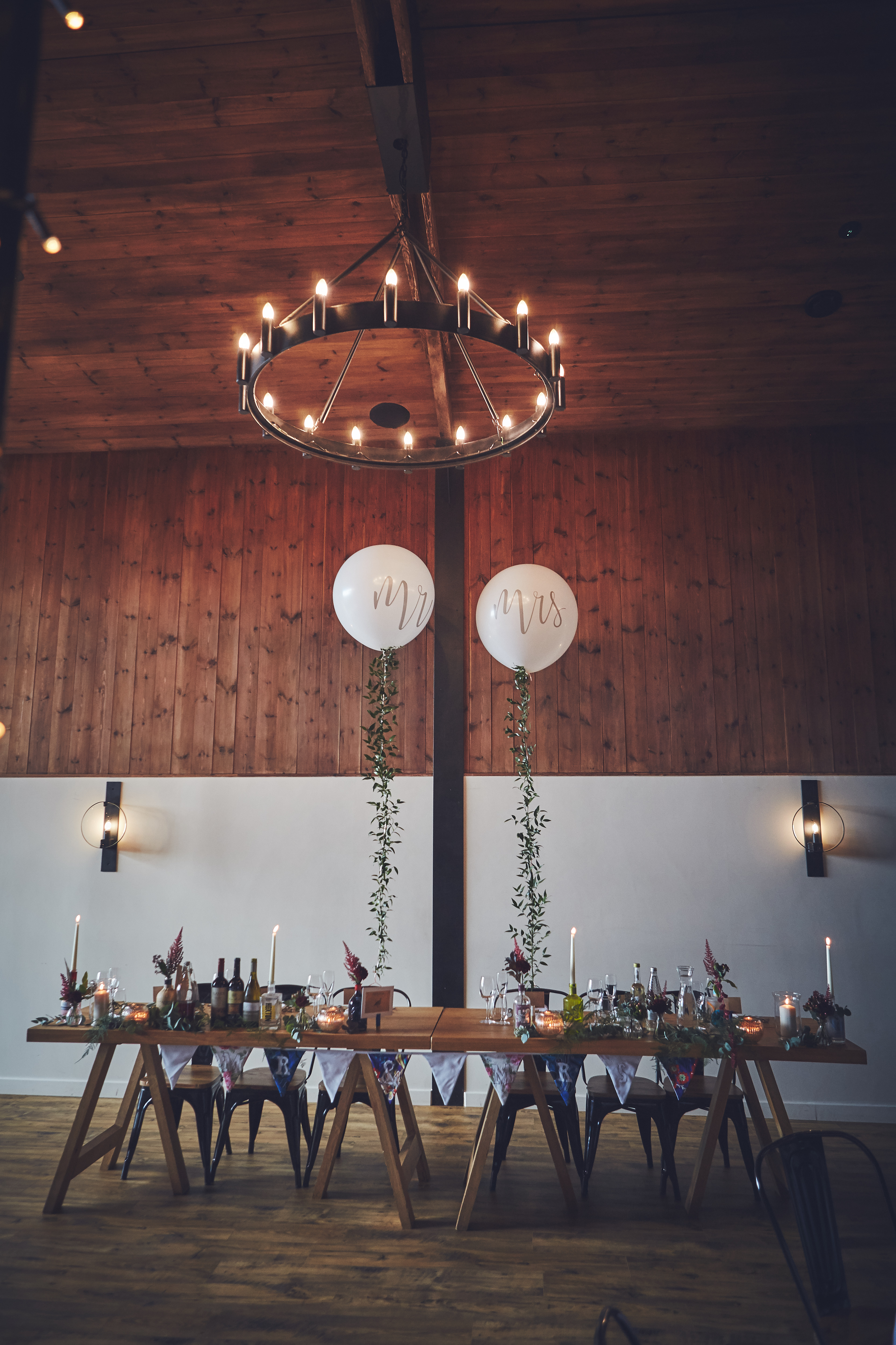 The Stable Barn at Upton dressed for a Wedding Breakfast with Mr & Mrs oversized balloons