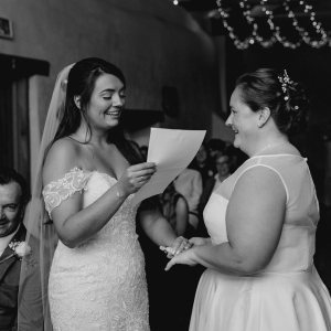 Brides share their own vows in civil ceremony at Upton Barn