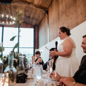 Bride delivers speech to her bride at civil ceremony wedding breakfast at Upton Barn