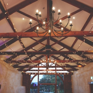 Festoon ceiling lights in the Cider Barn