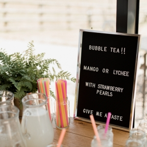 Bubble tea sign and glasses at Upton Barn Wedding Venue