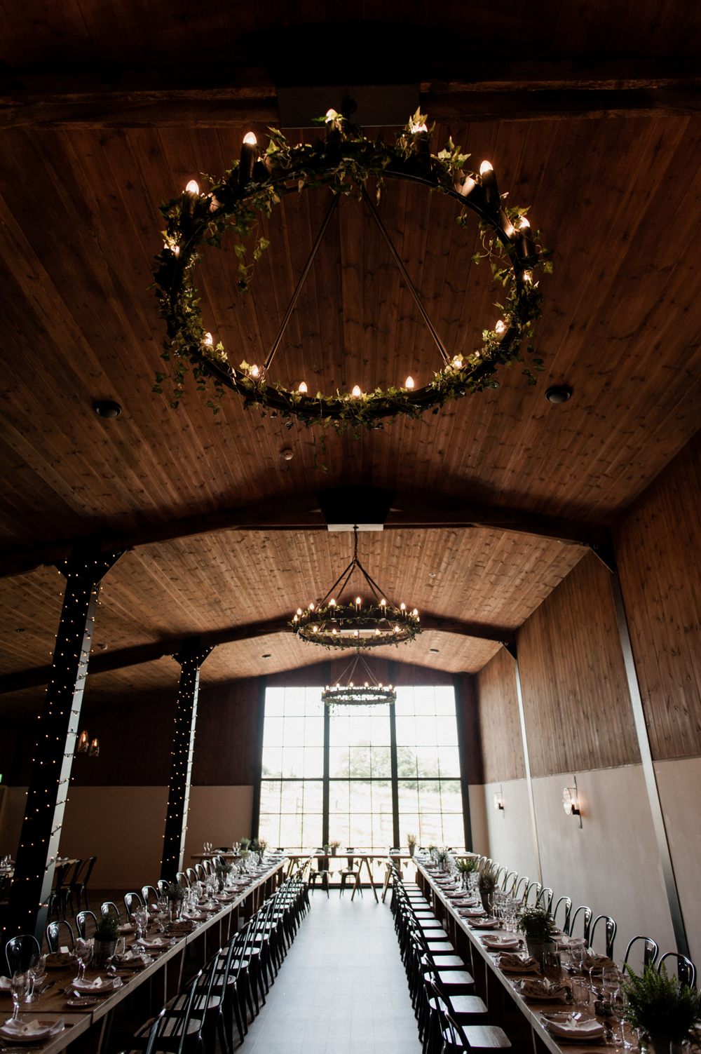 The Stable Barn Trestle Table Wedding Breakfast set up at Upton Barn