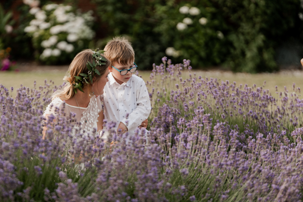 Bride with pageboy cuddle by the lavendar beds at Upton Barn