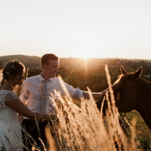 Bride and Groom stroke a horse in a field at Upton Barn at sunset