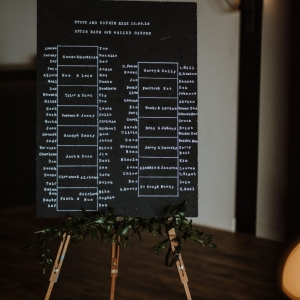 Black and White Table Plan on easel at Upton Barn