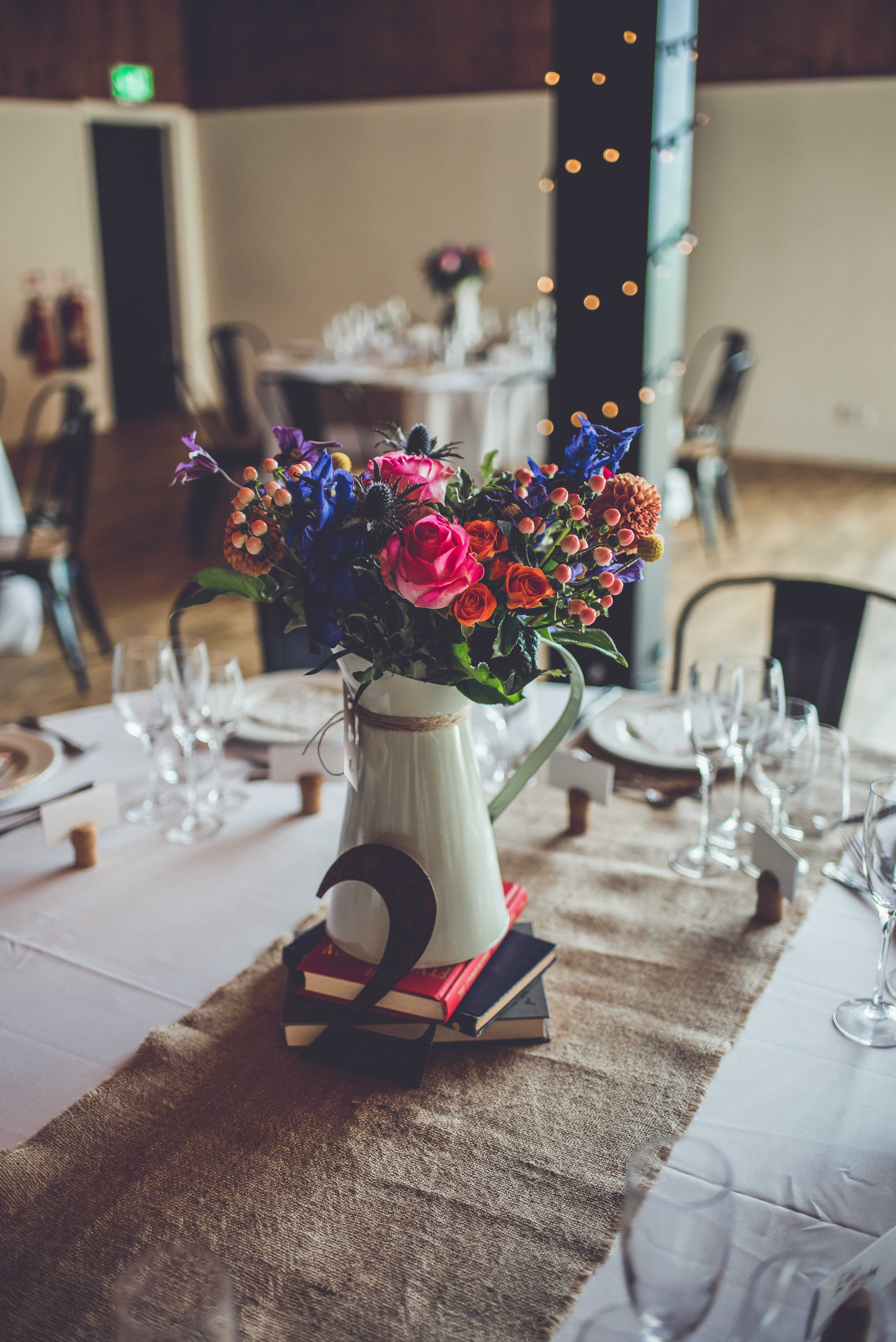 Rustic floral center piece in a jug