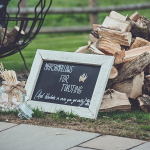 Sign by Fire Pits at Upton Barn for Marshmellows for toasting