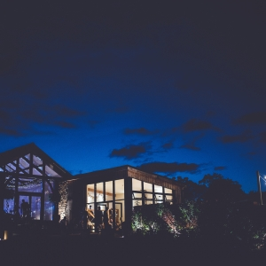 The Cider Barn and Press Bar by night